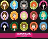picture of teen pony tail  - A set of different women icons in circles - JPG