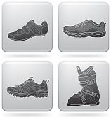 stock photo of ski boots  - Sports footwear theme icons set - JPG