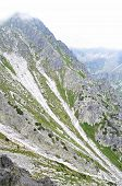 picture of landslide  - mountain landscape with landslide in High Tatras in Slovakia - JPG