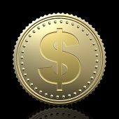 stock photo of golden coin  - gold coin with dollar sign - JPG