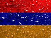 stock photo of armenia  - a flag of Armenia with rain drops - JPG