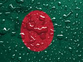 stock photo of bangladesh  - a flag of Bangladesh with rain drops - JPG