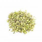 picture of oregano  - Oregano dried leaves isolated on a white background - JPG