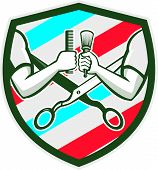foto of pole  - Illustration of barber hands one holding comb and the ohter hand holding brush with scissors and barber pole strips stripes in the background set inside shield crest done in retro style - JPG