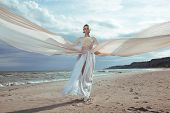 stock photo of long beach  - female model in long beige dress posing dynamic in the beach - JPG