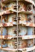 stock photo of formwork  - Rusty metal formwork used for building the concrete constructions. ** Note: Soft Focus at 100%, best at smaller sizes - JPG