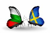 stock photo of sweden flag  - Two butterflies with flags on wings as symbol of relations Bulgaria and Sweden - JPG