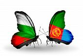 image of eritrea  - Two butterflies with flags on wings as symbol of relations Bulgaria and Eritrea - JPG