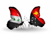 pic of papua new guinea  - Two butterflies with flags on wings as symbol of relations Syria and Papua New Guinea - JPG