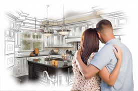 stock photo of combinations  - Young Military Couple Looking Inside Custom Kitchen and Design Drawing Combination - JPG
