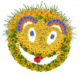 stock photo of psychodelic  - Cool cheesy psychodelic smile sign made from fresh summer flowers - JPG