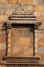 foto of qutub minar  - Decorative window at Qutub Minar complex Delhi India - JPG