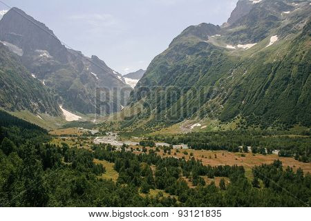 Mountain Valley, A Top View Of The River Bed.landscape With A Mountain River. Landscape With Mountai