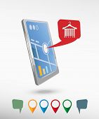 image of barcode  - Sale barcode clothes hanger and perspective smartphone vector realistic - JPG