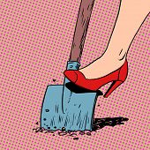 picture of shovel  - A woman works in a garden shovel digging farmer housewife shoes Halftone style art pop retro vintage - JPG