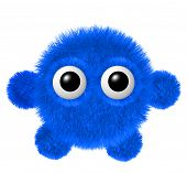 Little blue furry monster with arms and legs. Fluffy character with big eyes. poster