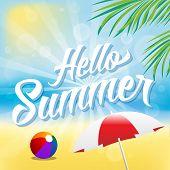 stock photo of beach-ball  - Hello Summer Vector Illustration - JPG