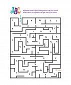 image of maze  - Alphabet mazes for Kindergarten and pre school - JPG