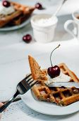 picture of whip-hand  - Breakfast with wholegrain brussels waffles and whipped cream - JPG