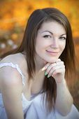 foto of nose ring  - Portrait of a young girl with brown eyes - JPG