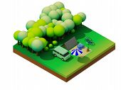 stock photo of isometric  - Isometric forest camping - JPG