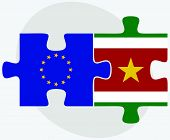 pic of suriname  - European Union and Suriname Flags in puzzle isolated on white background - JPG