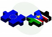 image of sudan  - European Union and South Sudan Flags in puzzle isolated on white background - JPG