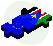 picture of sudan  - European Union and South Sudan Flags in puzzle isolated on white background - JPG