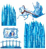 stock photo of snow queen  - Set cartoon  house  for fairy tale Snow Queen written by Hans Christian Andersen - JPG