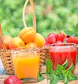 stock photo of apricot  - Strawberry smoothie and apricot juice  - JPG