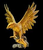 picture of fish-eagle  - golden eagle statue isolated on black background - JPG