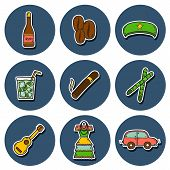 Set of cute hand drawn colorful stickers on Cuba theme poster