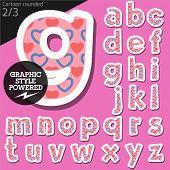 picture of flirty  - Vector children alphabet set in flirty pink heart style - JPG