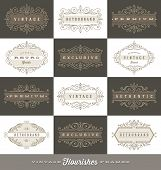 stock photo of flourish  - Set of vintage logo template with flourishes calligraphic elegant ornament frames  - JPG