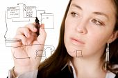 stock photo of intranet  - woman doing a database structure on the screen over white  - JPG