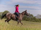 foto of horse girl  - Beautiful redhead girl riding horse in summer day - JPG