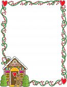 stock photo of candy cane border  - A border or frame featuring Christmas candy canes and a gingerbread house - JPG