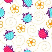 stock photo of ladybug  - Crawling yellow ladybugs and flowers seamless vector pattern - JPG