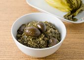pic of chinese food  - Chinese Traditional Food Chopped Pickled Chinese Cabbage with Chinese Olives in A Bowl - JPG