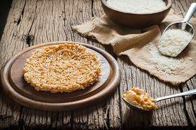 stock photo of crispy rice  - Crispy rice with topping coconut sugar sauce - JPG
