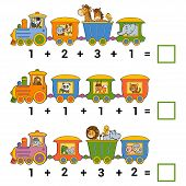 Постер, плакат: Counting Educational Game For Children Addition Worksheets