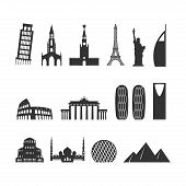 Постер, плакат: Landmark Travel Set Silhouette Architectural Monuments Known State Of Building Eiffel Tower And
