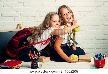 poster of Back To School And Home Schooling. Little Girls Back To School At Knowledge Day