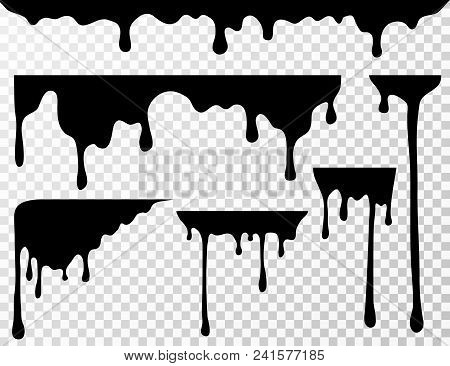 37b91a48c22db Poster of Black Dripping Oil Stain, Liquid Drips Or Paint Current Vector  Ink Silhouettes Isolated. Illustratio