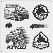 Set Of Quad Bike Rental Service Emblems, Labels And Design Elements. poster