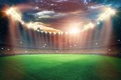 Stadium In The Lights And Flashes, Football Field. Concept Sports Background, Football, Night Stadiu poster