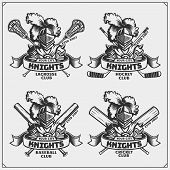 Cricket, Baseball, Lacrosse And Hockey Badges And Labels. Sport Club Emblems With Knight. poster