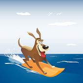 Dog On Surf Board. Colorful Comic Cartoon. Domestic Pet Sport Adventure Activity On Sea Beach Banner poster