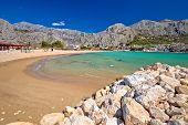 Town Of Omis Sand Beach And Biokovo Mountain Coastline View, Dalmatia Region Of Croatia poster