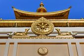 Element Of Temple In Buddhist Complex Golden Abode Of Buddha Shakyamuni In Spring. Elista. Kalmykia. poster